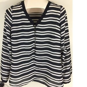 Black Ivory Striped Long Sleeve Semi Sheer Top
